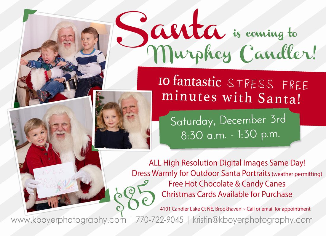 Santa Mini Session Photography announcement Dec 3rd Murphey Candler Park, Atlanta, GA