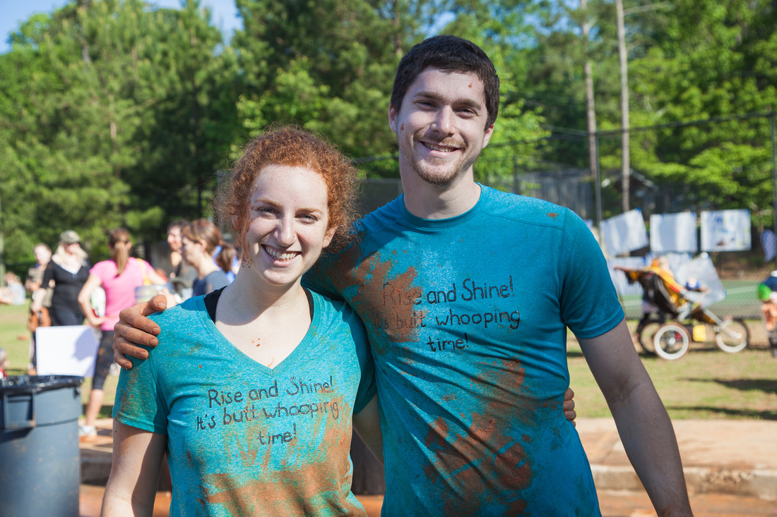 Happy, muddy couple after the Chamblee Fun Mud Run, 5K Atlanta GA. Kristin Boyer