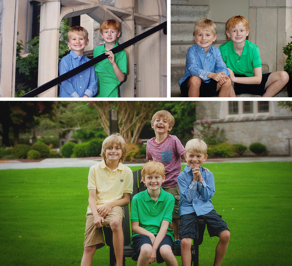 2 boys and their California Cousins during a summer photo shoot on a rainy day outside  at Oglethorpe University