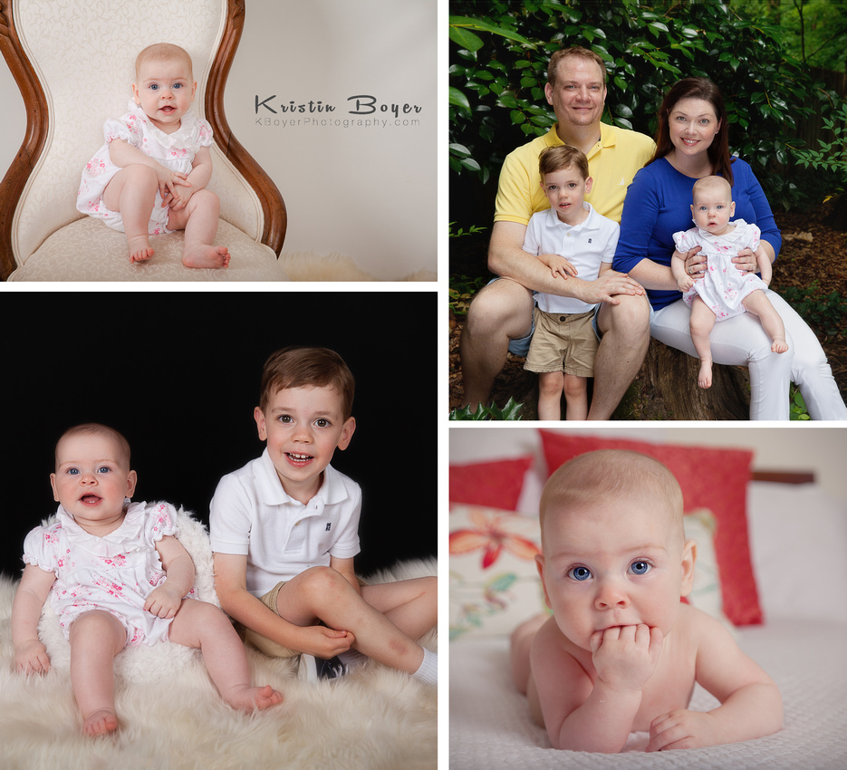 Collage of 6 month photo shoot with a baby girl and her big brother and mom and dad.  Inside and outside photographs.  Atlanta Children's Photographer