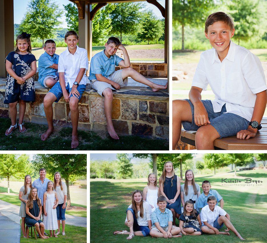 Outdoor family portraits as a 50th Wedding Anniversary gift.  Three generations of family from Atlanta, GA to the west coast.