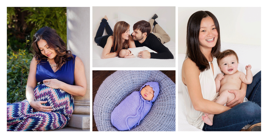 Collage of images from winter sessions of families, children & newborn images