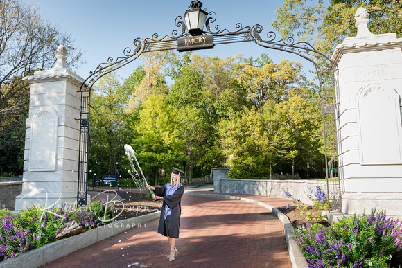 Senior Photos for Emory University Graduate, Class of 2021, Outdoor Photos on Emory University Campus, Cap and Gown Photos