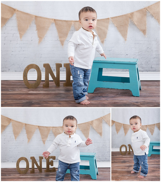 Mom, Dad and one year old son during a photo shoot for a first birthday cake smash in Brookhaven, Atlanta GA by Kristin Boyer, K. Boyer Photography