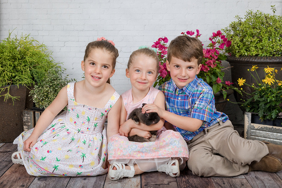 Bunny Mini Sessions in Atlanta on a white brick studio backdrop with a black bunny and 2 sisters and their brother