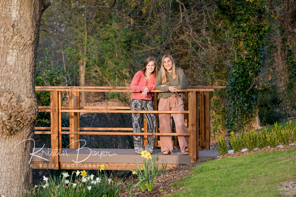 Teenage Sisters Traveling in Ireland posing for a photo on a wooden bridge, Smiling Teenage girl, Family Travel Photography