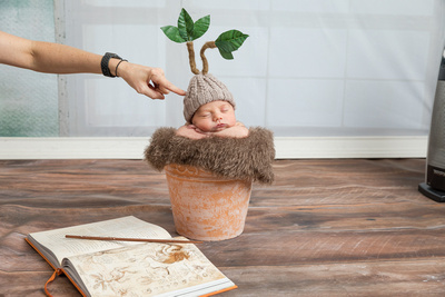 "Before and After Edits with PHotoshop for newborn portraits.  Showing examples of removing  elements of an image and ""Finishing"" the image editing"