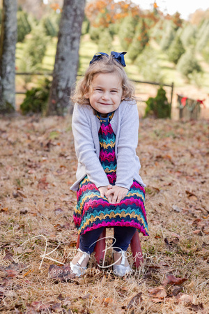 Outdoor photo of a 4 year old excited for Christmas at a Christmas Tree Farm in Atlanta Ga