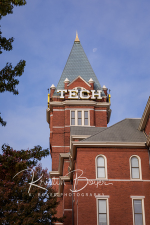 Photo of Georgia Tech tower with a crystal blue sky.