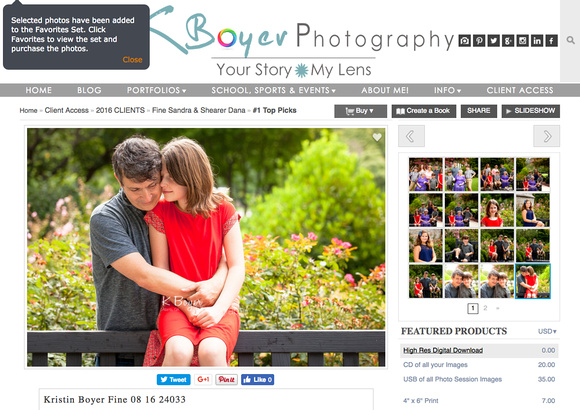KBoyerPhotography.com Screen Shot on adding High Resolution Digital Images to cart for purchase.