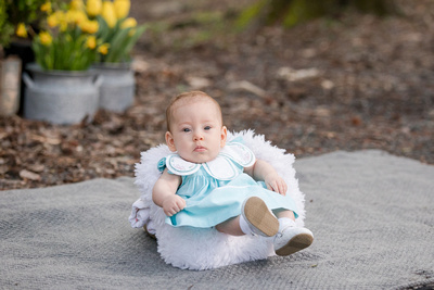 Spring Bunny Sessions with a white bunny at Dunwoody Nature Center
