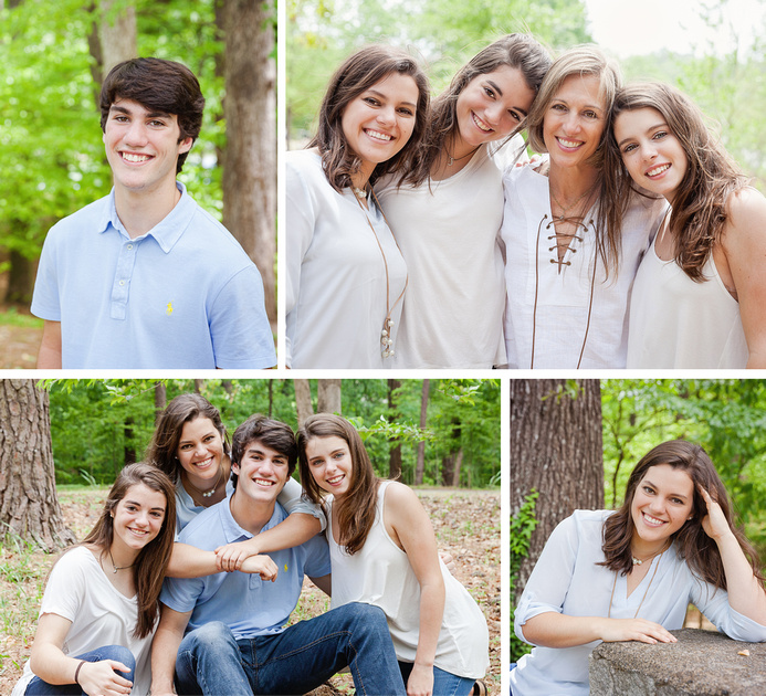 Family of six at an outdoor photo shoot in Brookhaven, GA at a local park