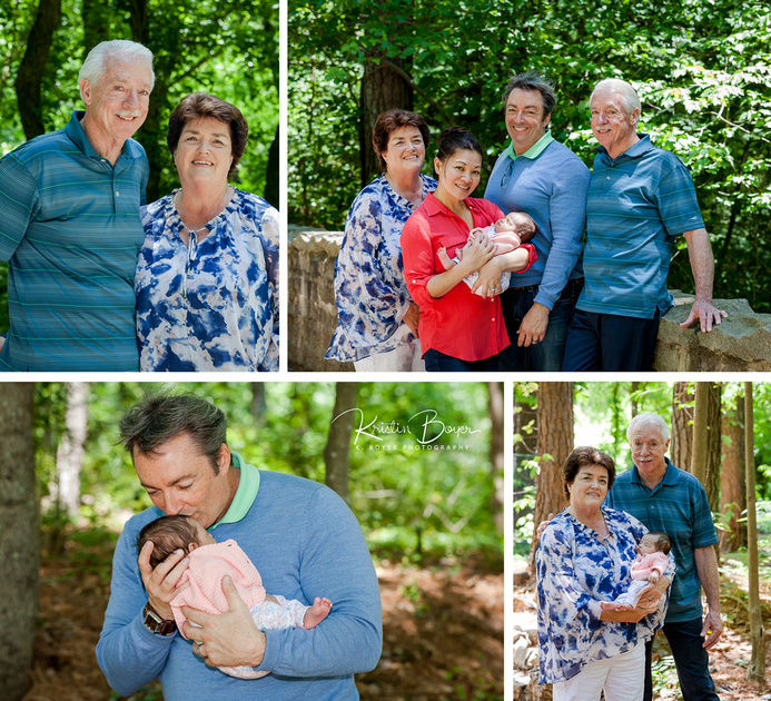 Outdoor photos at Mason Mill Park in Decatur GA for Grandparents and their Granddaughter to meet their newborn grandchild