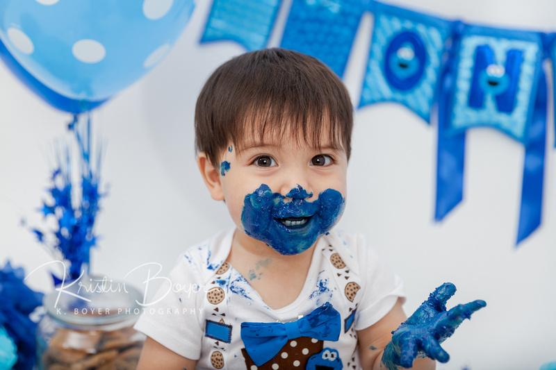 First Birthday Cookie Monster Cake Smash,