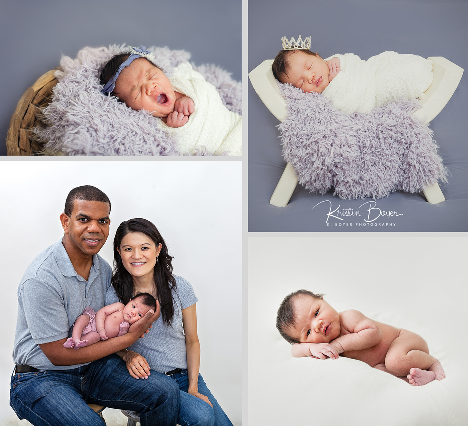 newborn baby girl studio photos with parents & grandmother