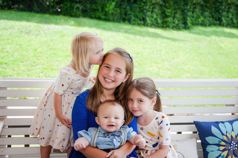 Seven Month Milestone Session, Family of Six in their home and outside in the yard,
