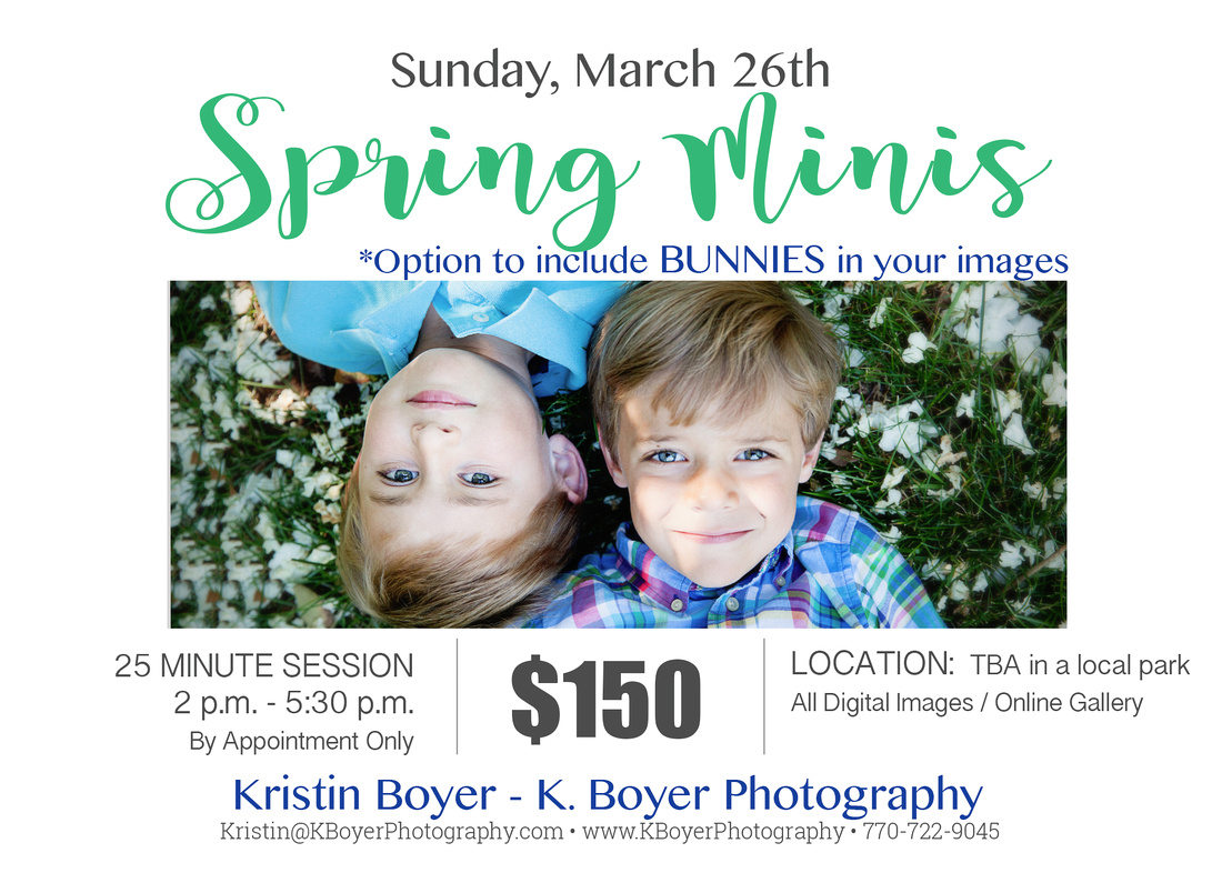Spring Mini session with Bunnies announcement Flyer for Atlanta Mini Sessions on March 26th 2017