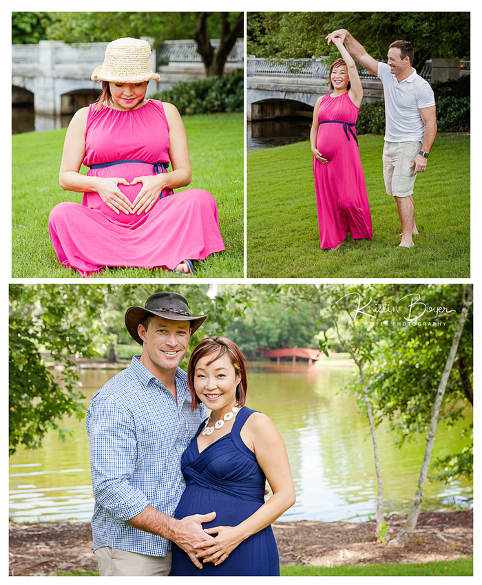 Outdoor Maternity Photo Session with excited young couple at Lenox Park in buckhead, GA
