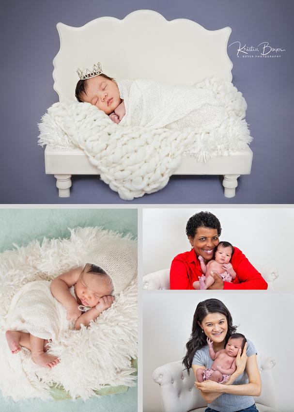 newborn baby girl studio photos with parents & grandmother