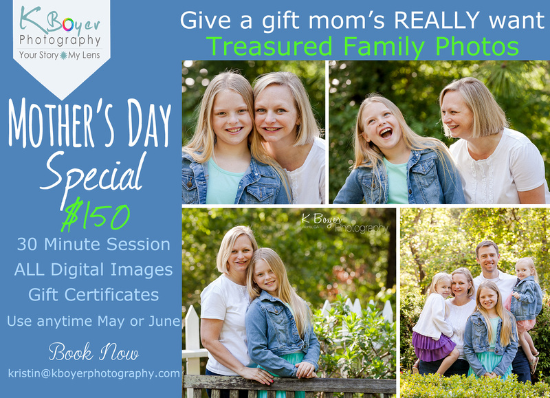 Mothers Day special announcing Mini Sessions in May or June for $150
