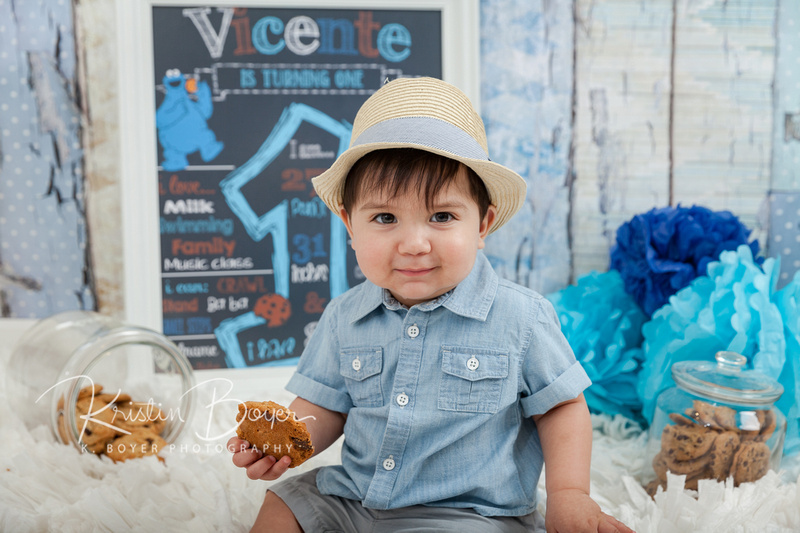 First Birthday Cake Smash photos for one year old boy, Cookie Monster, Studio Photos,