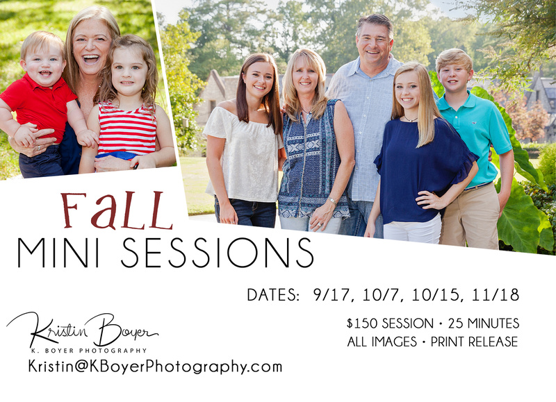 Flyer with information for 4 dates for fall family mini sessions, 2017, Photos of two families outside,